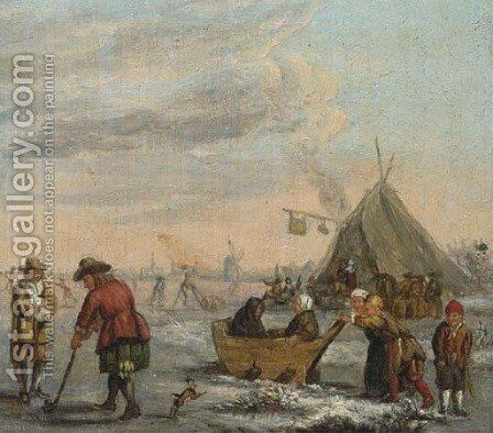 A winter landscape with men playing kolf and children on a sledge by (after) Barent Avercamp - Reproduction Oil Painting