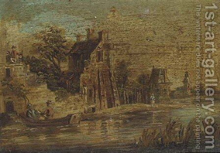 A series of six riverside landscapes with travellers and peasants by (after) Barend Gael Or Gaal - Reproduction Oil Painting