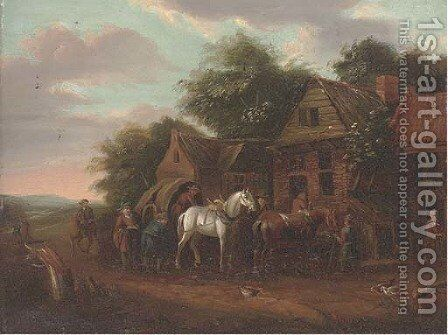 A wooded landscape with travellers at rest by a cottage by (after) Barend Gael Or Gaal - Reproduction Oil Painting