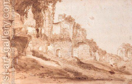 Roman ruins by (after) Bartholomeus Breenbergh - Reproduction Oil Painting