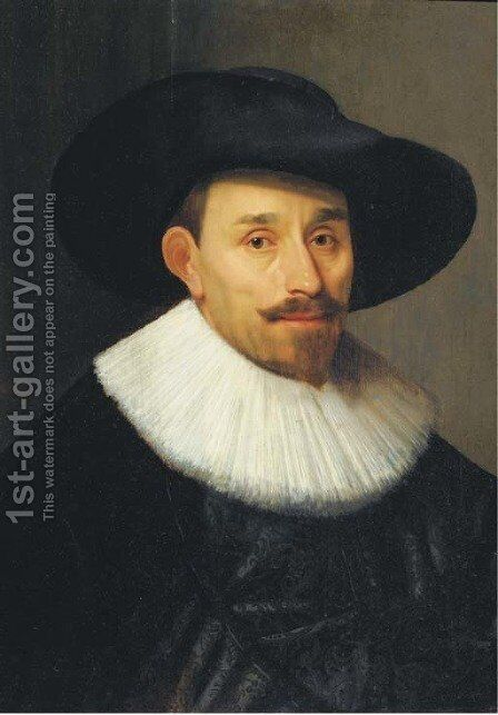 A portrait of a man, bust-length, in a black costume by (after) Bartholomeus Van Der Helst - Reproduction Oil Painting