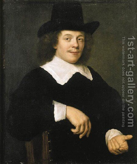 Portrait of a gentleman, seated half length, wearing black costume with lace collar and cuffs and black hat by (after) Bartholomeus Van Der Helst - Reproduction Oil Painting