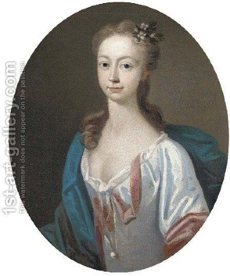 Portrait of a lady in a white dress and blue cape, feigned oval by (after) Bartholomew Dandridge - Reproduction Oil Painting