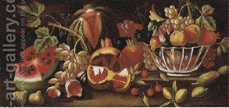 A watermelon, grapes, figs, pomegranate and a bowl by (after) Bartolome Perez - Reproduction Oil Painting