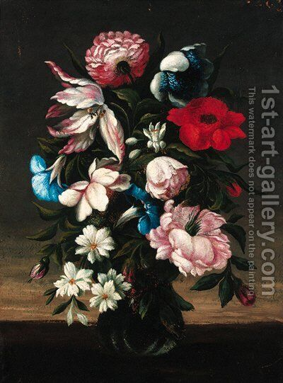 Flowers in an urn by (after) Bartolome Perez - Reproduction Oil Painting