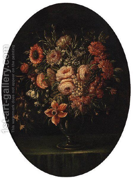 Roses, Carnations, Tulips and other Flowers in a glass Vase on a Ledge by (after) Bartolome Perez - Reproduction Oil Painting