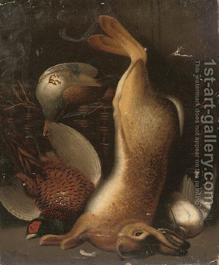 A hare, cock pheasant and woodcock, with a partridge in a basket by (after) Benjamin Blake - Reproduction Oil Painting
