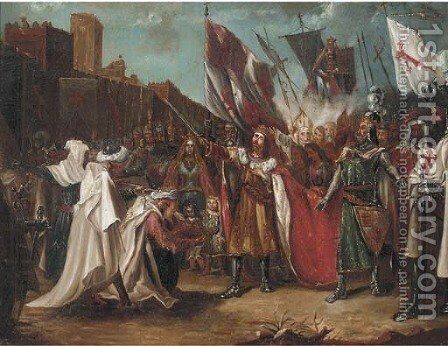 King Richard I receiving the keys to the port city of Acre by (after) Benjamin Robert Haydon - Reproduction Oil Painting