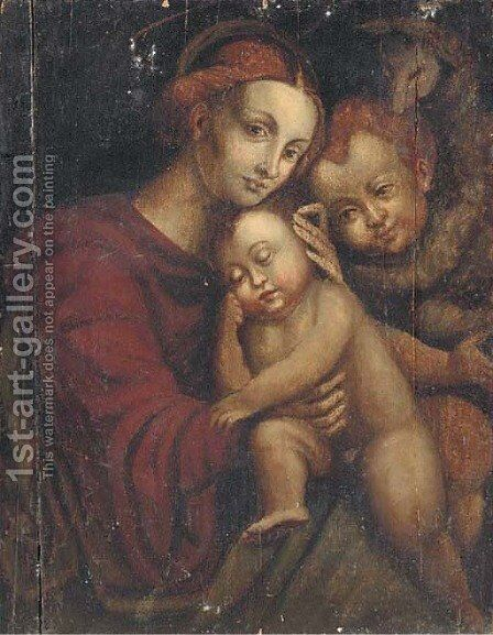 The Madonna and Child with the Infant Saint John the Baptist by (after) Bernadino Luini - Reproduction Oil Painting