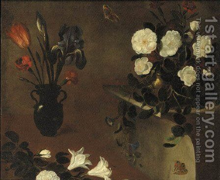 An iris, a tulip and carnations in a vase with roses in a copper bowl on a pedestal nearby - a fragment by (after) Picart, Bernard - Reproduction Oil Painting