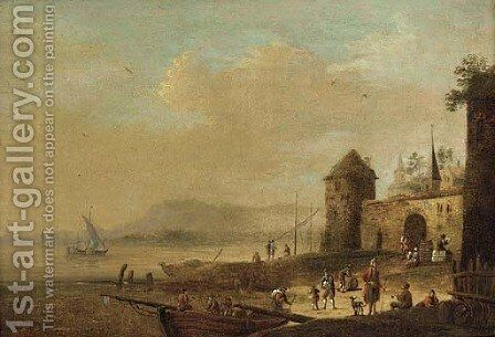 Figures unloading a barge at a riverside village by (after) Bonaventure II Peeters - Reproduction Oil Painting
