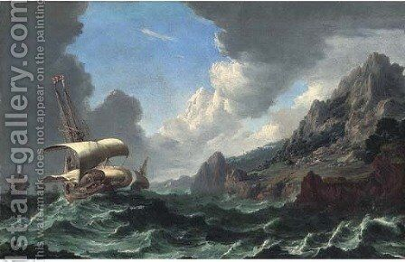 Dutch shipping in choppy waters with a rocky coastal landscape and mountains beyond by (after)  Bonaventura, The Elder Peeters - Reproduction Oil Painting