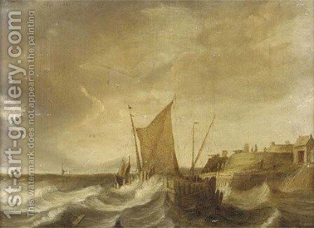 Shipping in stormy seas by (after) Bonaventure II Peeters - Reproduction Oil Painting