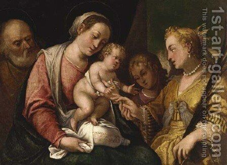 The Mystic Marriage of Saint Catherine by (after) Bonifazio Veronese - Reproduction Oil Painting