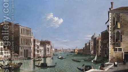 The Grand Canal looking East from the Campo di San Vio with gondolas and a view of Doge's Palace beyond by (after) (Giovanni Antonio Canal) Canaletto - Reproduction Oil Painting