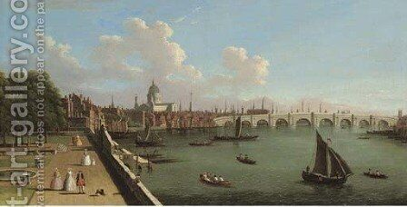 View across the Thames from Somerset House, with Blackfriars Bridge and St Paul's Cathedral by (after) (Giovanni Antonio Canal) Canaletto - Reproduction Oil Painting