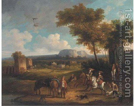 A broad landscape with a hawking party by (after) Carel Van Falens Or Valens - Reproduction Oil Painting