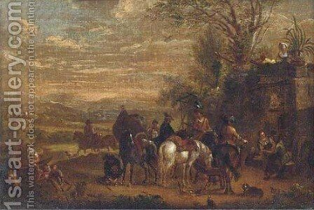 A landscape with a hawking party halted by a fountain by (after) Carel Van Falens Or Valens - Reproduction Oil Painting