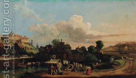 A town in a river valley by (after) Carl Joseph Kuwasseg - Reproduction Oil Painting