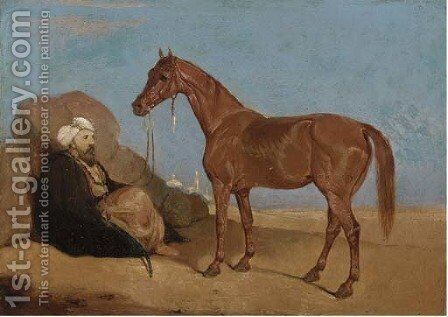 An Arab smoking a pipe, a horse to his side by (after)  Leopold Carl Muller - Reproduction Oil Painting