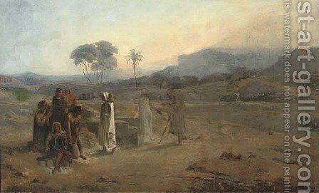 Figures in a desert landscape, thought to be North Africa by (after)  Leopold Carl Muller - Reproduction Oil Painting