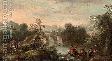 An Italianate wooded river landscape with fishermen in a boat and figures on a bridge beyond by (after) Carlo Bonavia - Reproduction Oil Painting