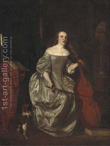 A lady playing a cello in an interior with a dog at her side by (after) Caspar Netscher - Reproduction Oil Painting