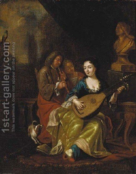 Elegant company making music on a terrace by (after) Caspar Netscher - Reproduction Oil Painting