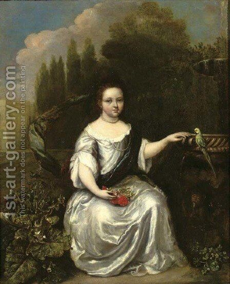 Portrait of a young girl by (after) Caspar Netscher - Reproduction Oil Painting