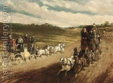 Coaches on a road by (after) Charles Cooper Henderson - Reproduction Oil Painting