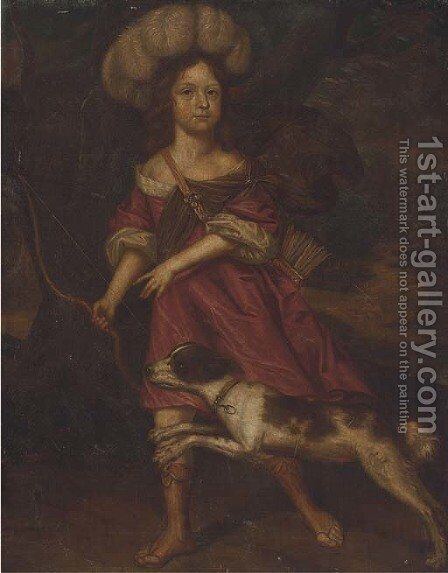 Portrait of a young lady, as Diana the Huntress by (after) Charles D' Agar - Reproduction Oil Painting