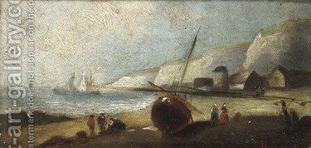 Unloading at low tide on the Britanny coast; and A Britanny fishing village by (after) Charles Euphrasie Kuwasseg - Reproduction Oil Painting
