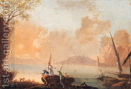 Mediterranean coastlines with fisherfolk on the shore by (after) Charles Francois Lacroix De Marseille - Reproduction Oil Painting
