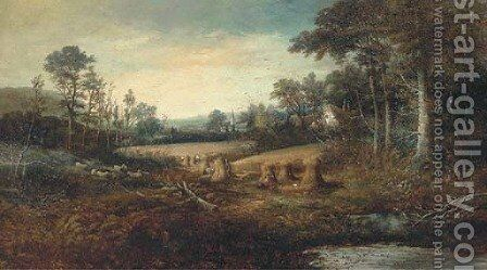 Hay making, with church in the distance by (after) Charles Leaver - Reproduction Oil Painting