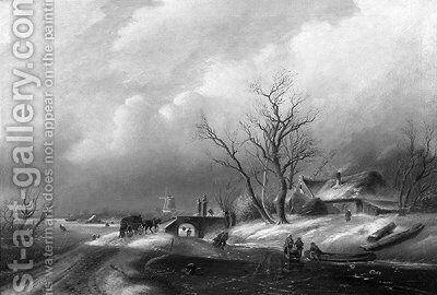 A winter landscape with figures on a frozen waterway by (after) Charles Leickert - Reproduction Oil Painting