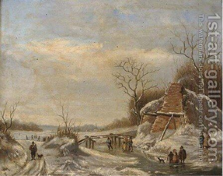 The frozen canal by (after) Charles Leickert - Reproduction Oil Painting