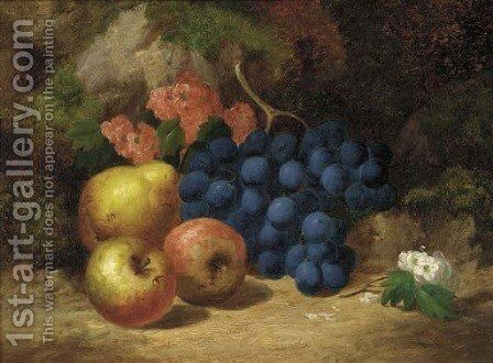 Apples, grapes, a pear and blossom, on a mossy bank by (after) Charles Thomas Bale - Reproduction Oil Painting