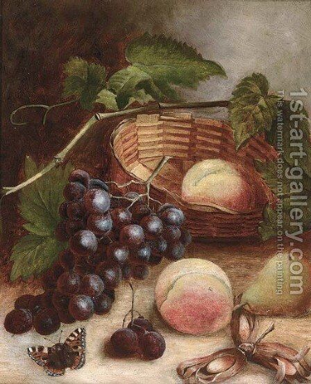 Grapes, peaches, a pear and cobb nuts with a basket on a table by (after) Charles Thomas Bale - Reproduction Oil Painting