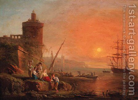 A Mediterranean coastline at sunset with fisherfolk on the shore, a man-o'-war moored beyond by (after) Charles Francois Lacroix De Marseille - Reproduction Oil Painting