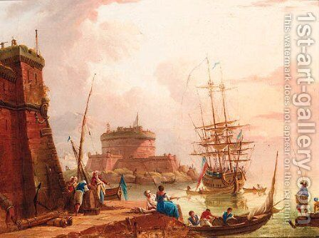 A Mediterranean harbour with merchants and fisherfolk on a quay, a man-o-war moored beyond by (after) Charles Francois Lacroix De Marseille - Reproduction Oil Painting