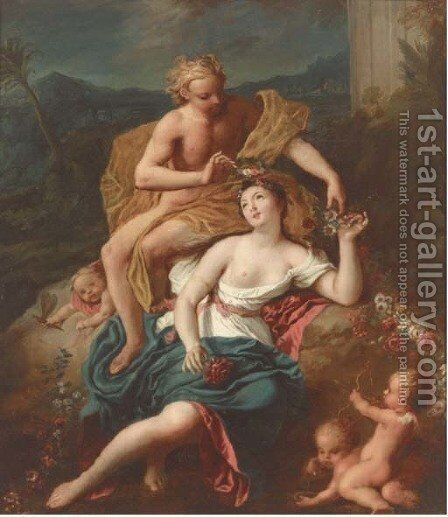 Flora and Zephyr by (after) Charles-Joseph Natoire - Reproduction Oil Painting