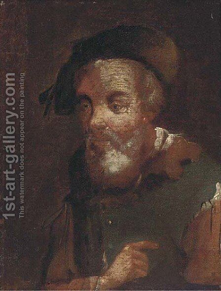 A bearded man 4 by (after) Christian Wilhelm Ernst Dietrich - Reproduction Oil Painting
