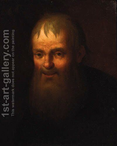 A bearded old man, head and shoulders in a black coat by (after) Christian Wilhelm Ernst Dietrich - Reproduction Oil Painting