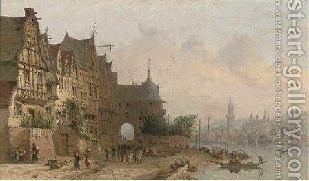 Along the Rhine, a busy continental town view by (after) Clarkson Stanfield - Reproduction Oil Painting