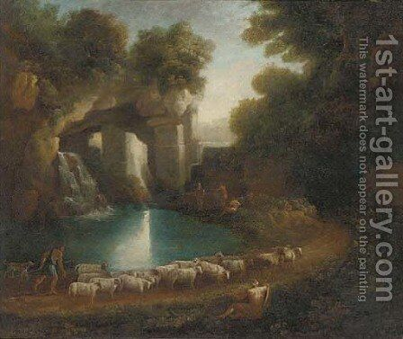 A wooded clearing with a shepherd and his flock and anglers by a waterfall beneath classical ruins by (after) Claude Lorrain (Gellee) - Reproduction Oil Painting