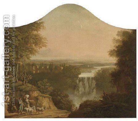 An extensive river landscape with a shepherd and his flock by a waterfall by (after) Claude Lorrain (Gellee) - Reproduction Oil Painting