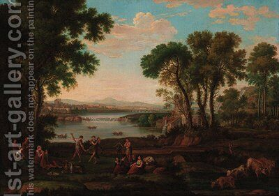 Figures dancing in a classical landscape by (after) Claude Lorrain (Gellee) - Reproduction Oil Painting