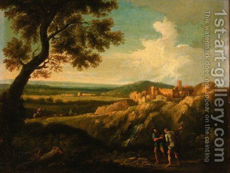 An extensive landscape with Hercules slaying the serpent by (after) Claude Lorrain (Gellee) - Reproduction Oil Painting