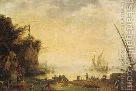 A Mediterranean coastal inlet with fishermen and shipping by (after) Claude-Joseph Vernet - Reproduction Oil Painting