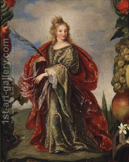 Saint Catherine within a painted Cartouche of Fruit by (after) Claude Vignon - Reproduction Oil Painting